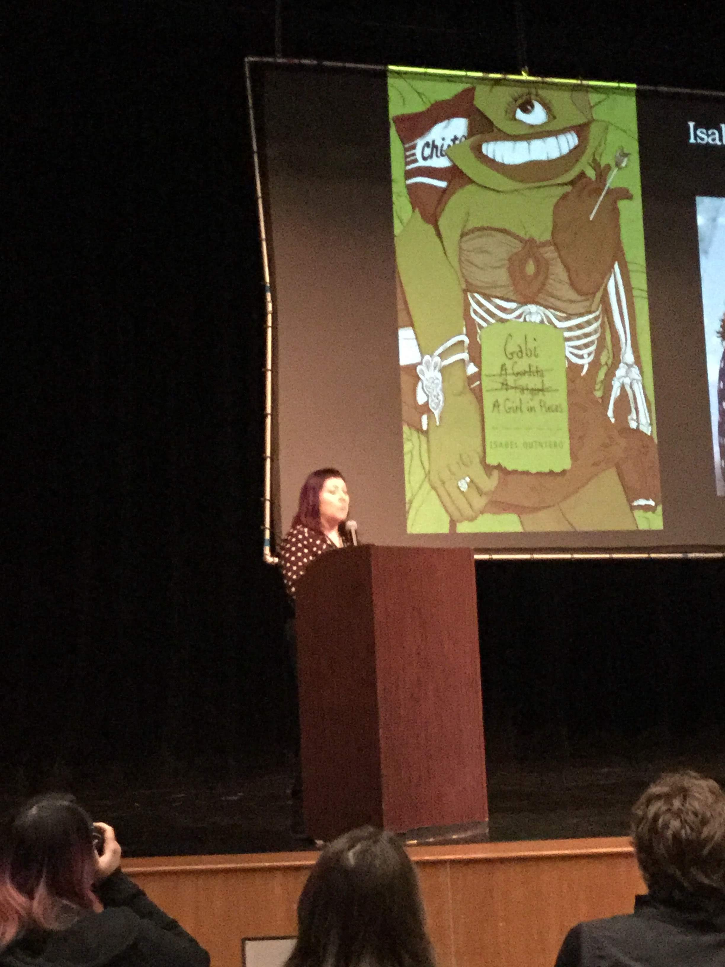 Image of Isabel Quintero giving one of three keynote speeches at the Ontario Teen Book Fest on March 9, 2019.