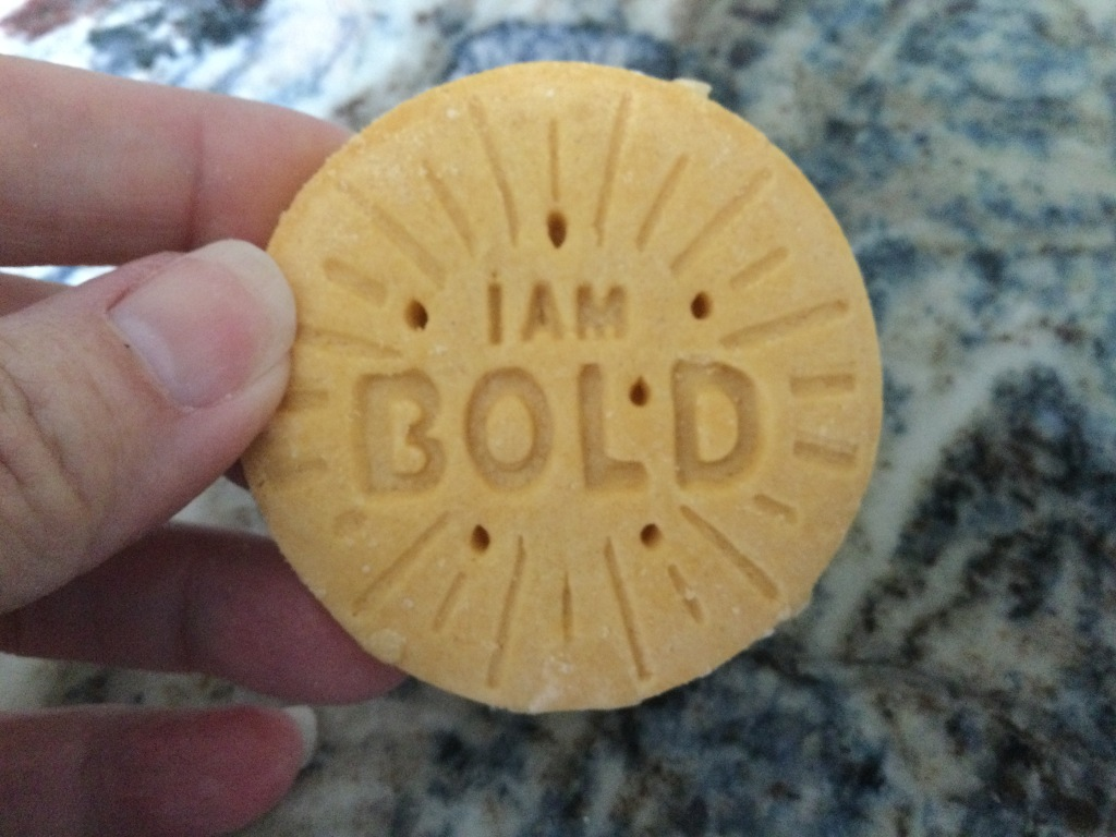 "Image of a Girl Scout cookie that says, ""I am bold."""